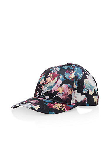 Floral Satin Baseball Hat,PURPLE/BLACK,large