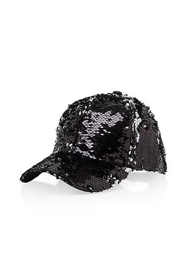 Reversible Sequin Baseball Hat,BLACK/SILVER,large