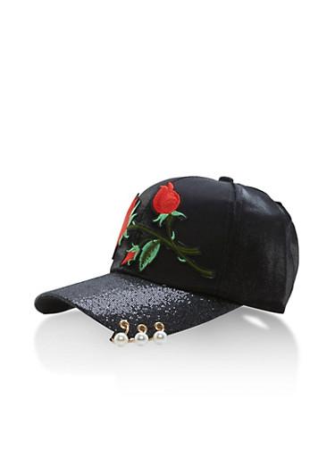 Pierced Shimmer and Metallic Knit Baseball Cap,BLACK/RED,large