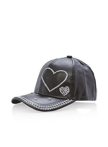 Metallic Faux Leather Rhinestone Studded Baseball Cap,BLACK,large