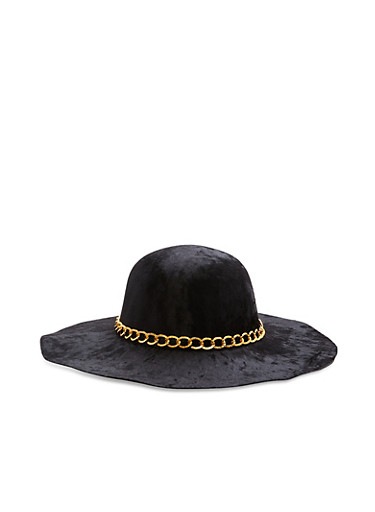 Crushed Velvet Floppy Hat with Chain Detail,BLACK,large