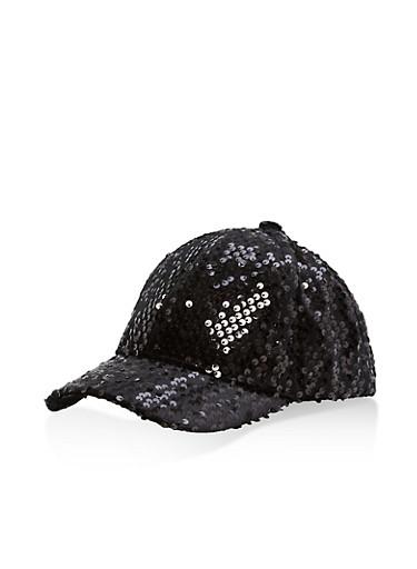 Sequin Velvet Baseball Hat,BLACK,large