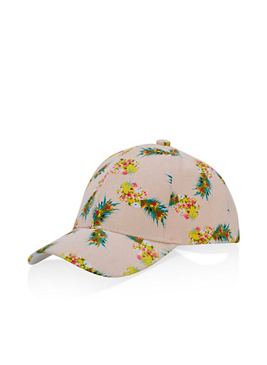 Pineapple Print Baseball Cap,BLUSH,large