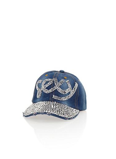 Denim Baseball Hat with Studded Sexy Graphic,DENIM,large
