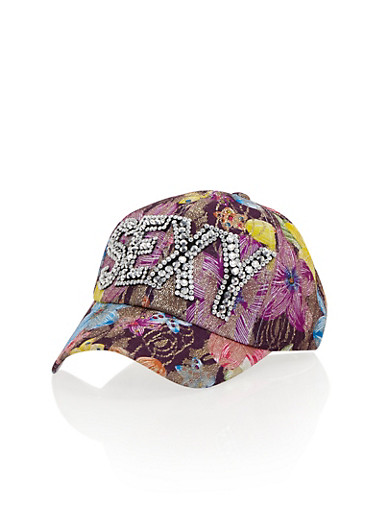 Floral Print Baseball Hat with Studded Sexy Graphic,PURPLE,large