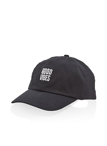 Good Vibes Embroidered Baseball Cap,BLACK,large