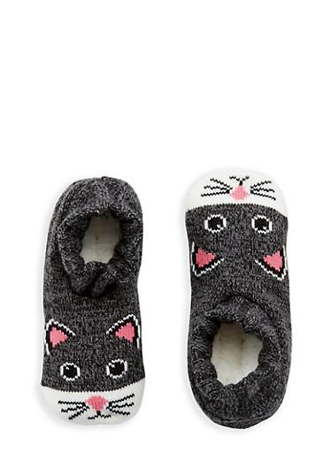 Knit Critter Slipper Socks,BLACK,large