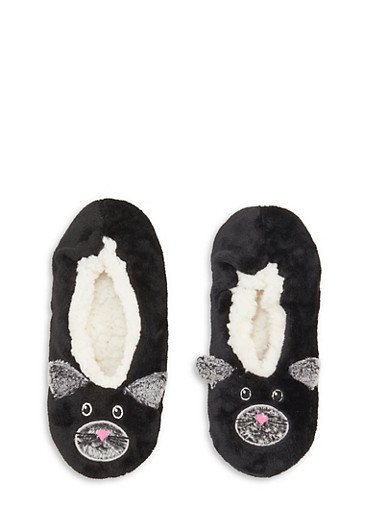 Fuzzy Animal Slippers,BLACK,large