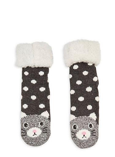 Long Critter Knit Socks,BLACK,large