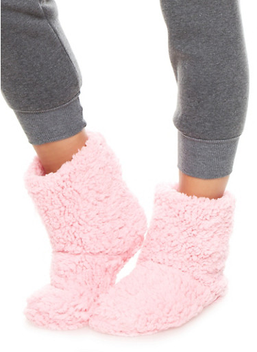 Ultra Plush Slipper Socks With Rubber Bottom,PINK,large