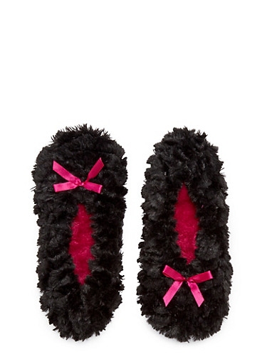 Plush Slippers with Satin Bow Accents,BLACK,large
