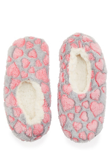 Fuzzy Slippers in Heart Print,CORAL/GREY,large