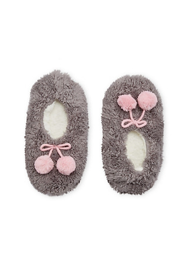 Pom Pom Slippers,GRAY,large