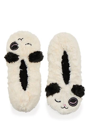 Plush Slippers with Winking Panda Design,IVORY,large