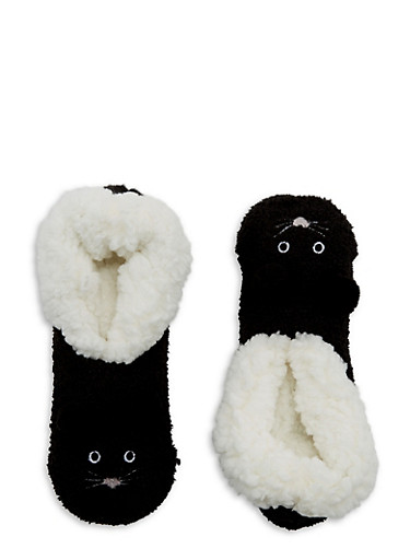 Pom Pom Ears Fuzzy Slipper Socks,BLACK,large