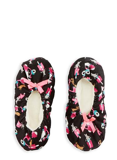 Printed Fuzzy Slipper Socks,BLACK,large