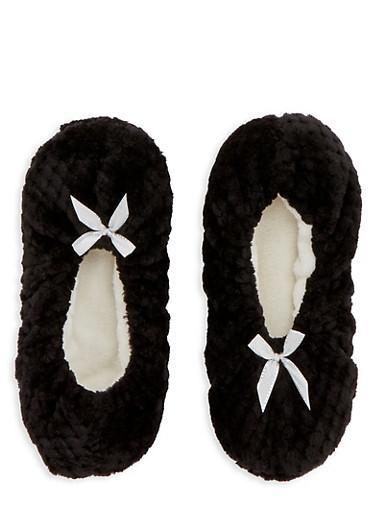 Fuzzy Slipper Socks,BLACK,large