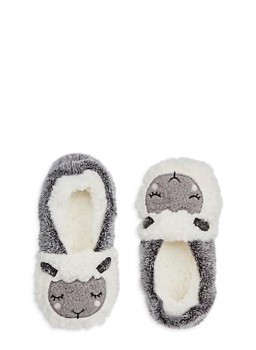 Fuzzy Critter Slipper Socks,WHITE,large