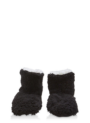 Fuzzy Slipper Booties,BLACK,large