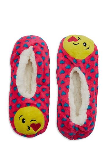 Kiss Emoji Fuzzy Slipper Socks,PINK,large