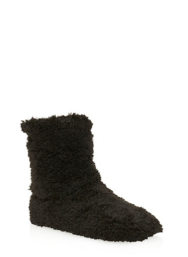 Plush Slipper Booties,BLACK,large