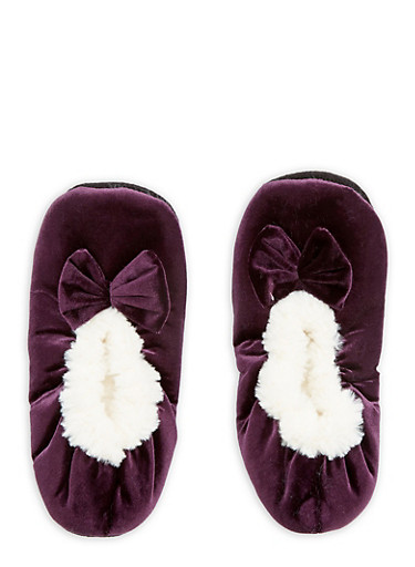 Velvet Faux Fur Bow Slippers,PURPLE,large