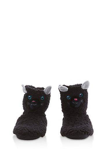 Fuzzy Animal Slipper Booties,BLACK,large
