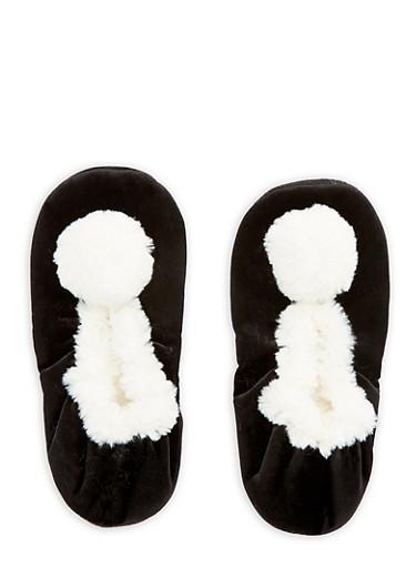 Velvet Faux Fur Pom Pom Slippers,BLACK,large