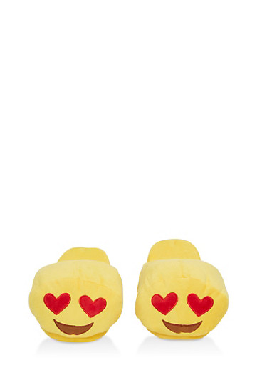 Heart Eyes Emoji Slippers,YELLOW,large