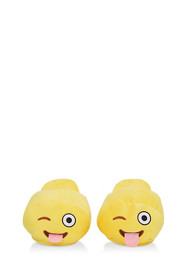 Silly Emoji Slippers,YELLOW,large