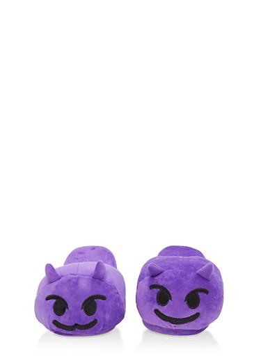 Devil Emoji Slippers,PURPLE,large