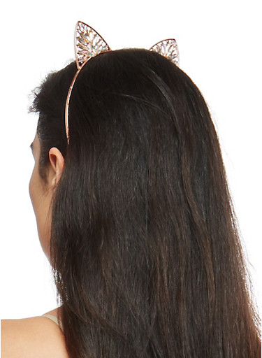 Jeweled Metallic Cat Ear Headband,ROSE,large