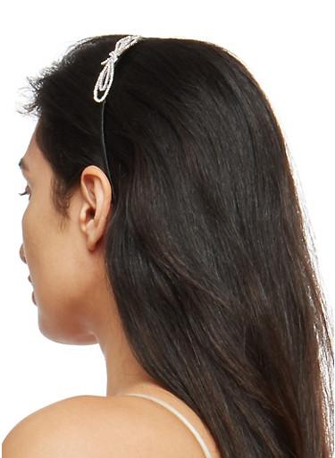Metallic Rhinestone Bow Headband,SILVER,large
