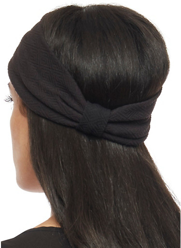 Textured Knit Headband with Knotted Accent,BLACK,large