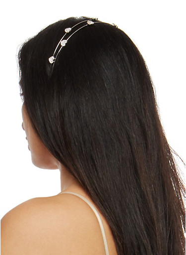 Rhinestone Heart Headband,SILVER,large
