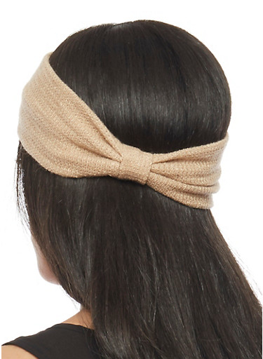 Knit Headband with Knotted Accent,TAN,large