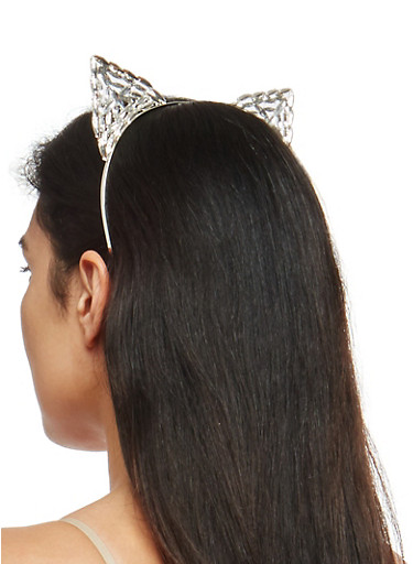 Jeweled Metallic Cat Ear Headband,SILVER,large