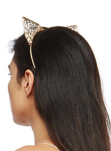 Jeweled Metallic Cat Ear Headband,GOLD,large