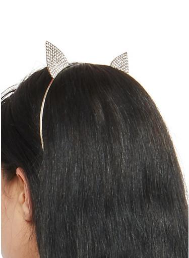 Rhinestone Cat Ears Metallic Headband,SILVER,large