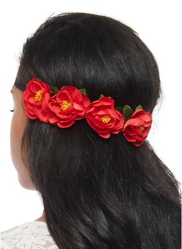 4 Flower Headband,RED,large