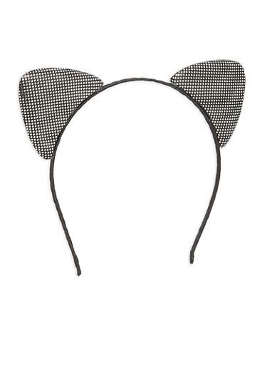 Double Sided Metallic Cat Ear Headband,BLACK,large