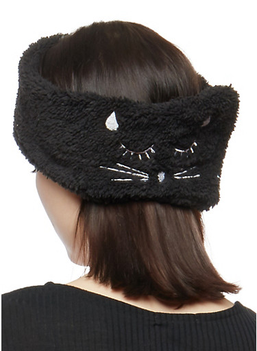 Soft Sleeping Cat Headband,BLACK,large