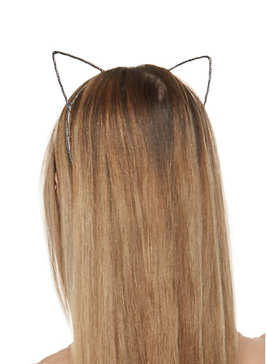 Foil Metallic Cat Ears Headband,BLACK,large