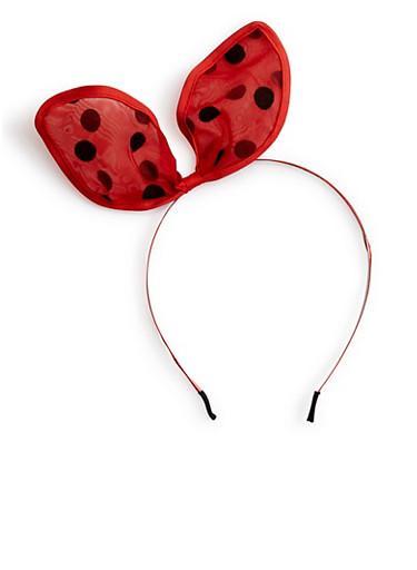 Polka Dot Lace Cat Ear Headband,RED,large
