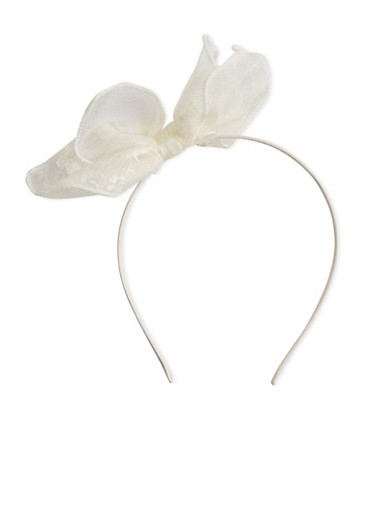 Pointy Lace Cat Ear Headband,BEIGE,large