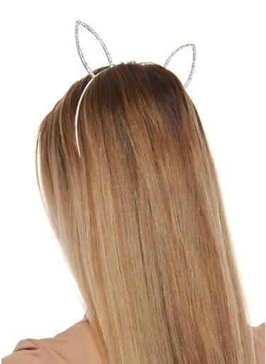 Rhinestone Bunny Ears Headband,SILVER,large