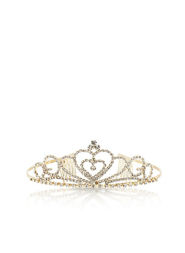 Rhinestone Encrusted Tiara,GOLD,large