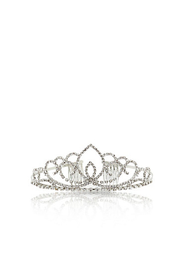 Rhinestone Tiara Crown,SILVER,large