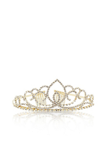 Rhinestone Tiara Crown,GOLD,large