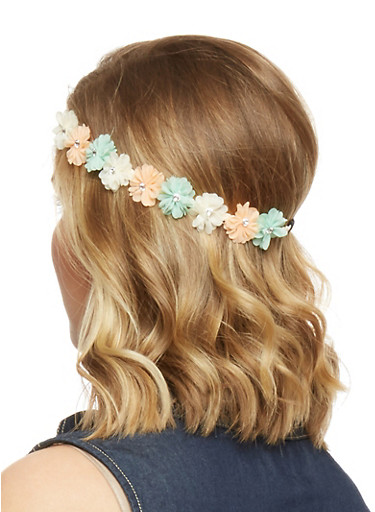 Floral Crown Head Band with Rhinestone Accents,MINT,large